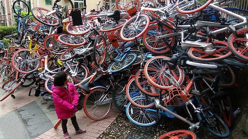 Montagne de vélos en Chine